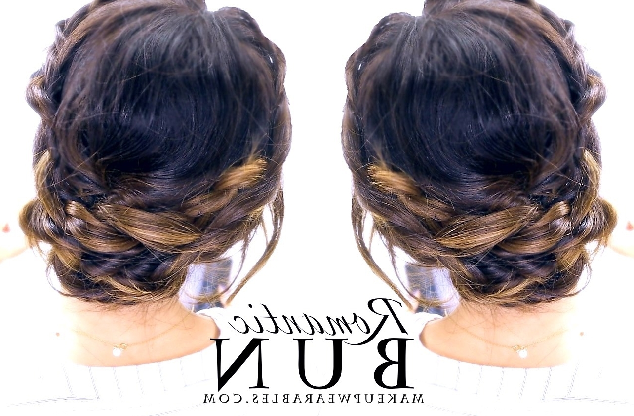 Prom Wedding Everyday Hairstyle Regarding Fashionable Messy Bun Braided Hairstyles (View 14 of 15)