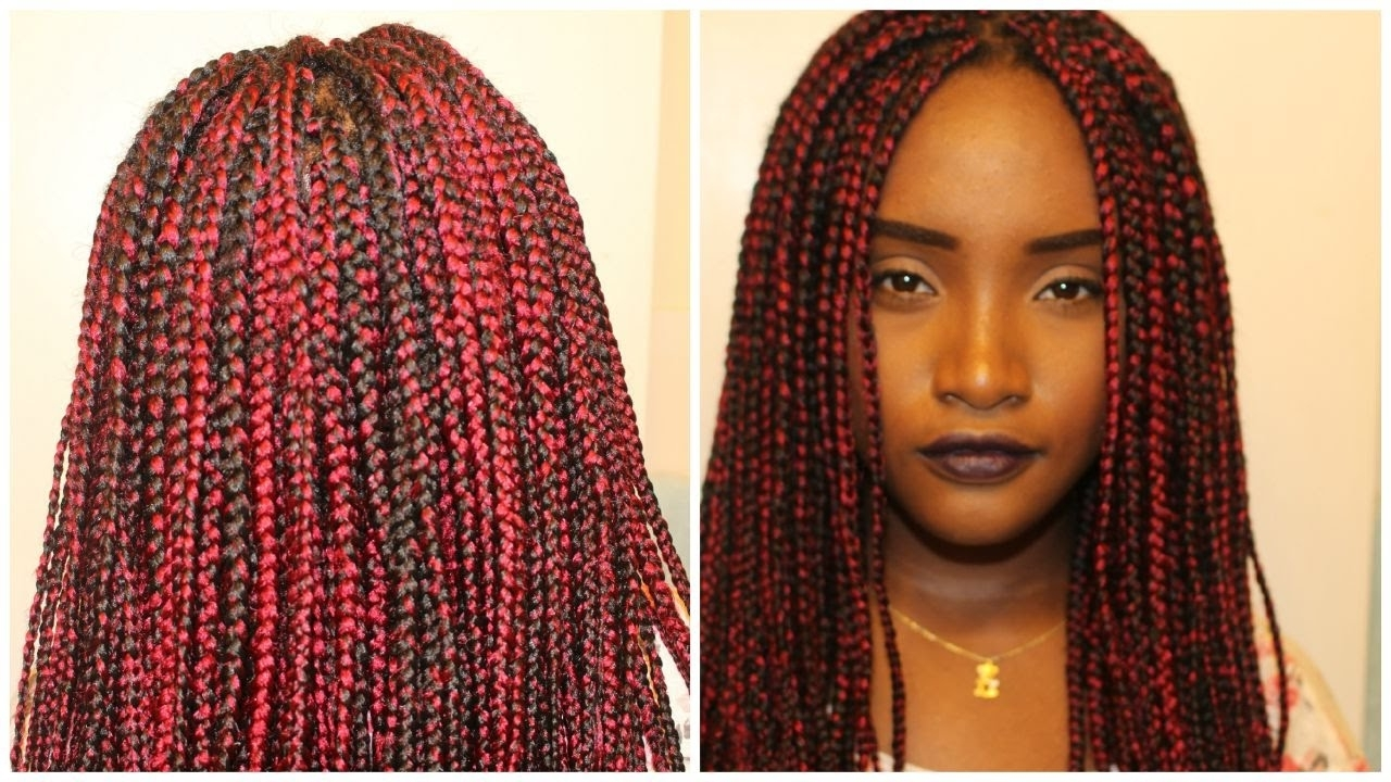 Red And Black Box Braids Quick Tutorial – Youtube Inside Trendy Red Braided Hairstyles (View 9 of 15)