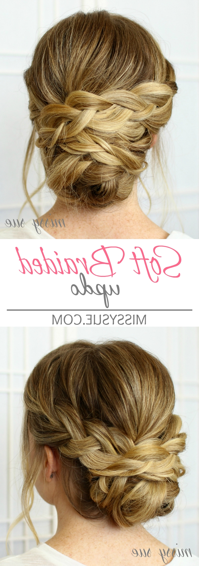 Soft Braided Updo Regarding Widely Used Braided Evening Hairstyles (View 8 of 15)