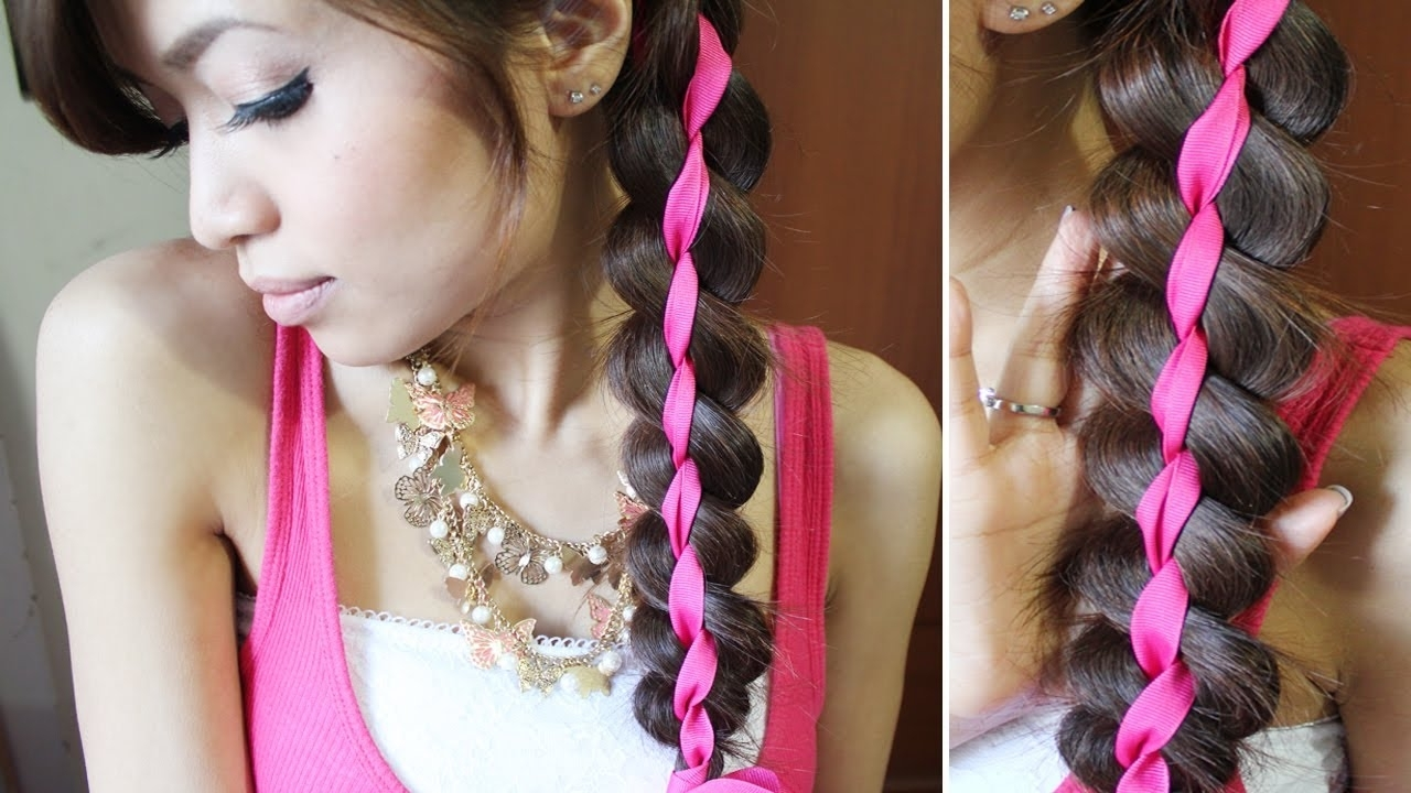 Trendy Braided Ribbon Hairstyles Pertaining To 4 Strand Ribbon Braid Headband Hairstyle For Medium Long Hair (View 4 of 15)