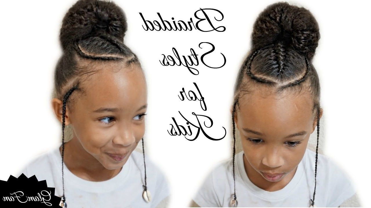 Well Known Braided Hairstyles For School Throughout Children's Braided Hairstyle With A Bun (View 9 of 15)