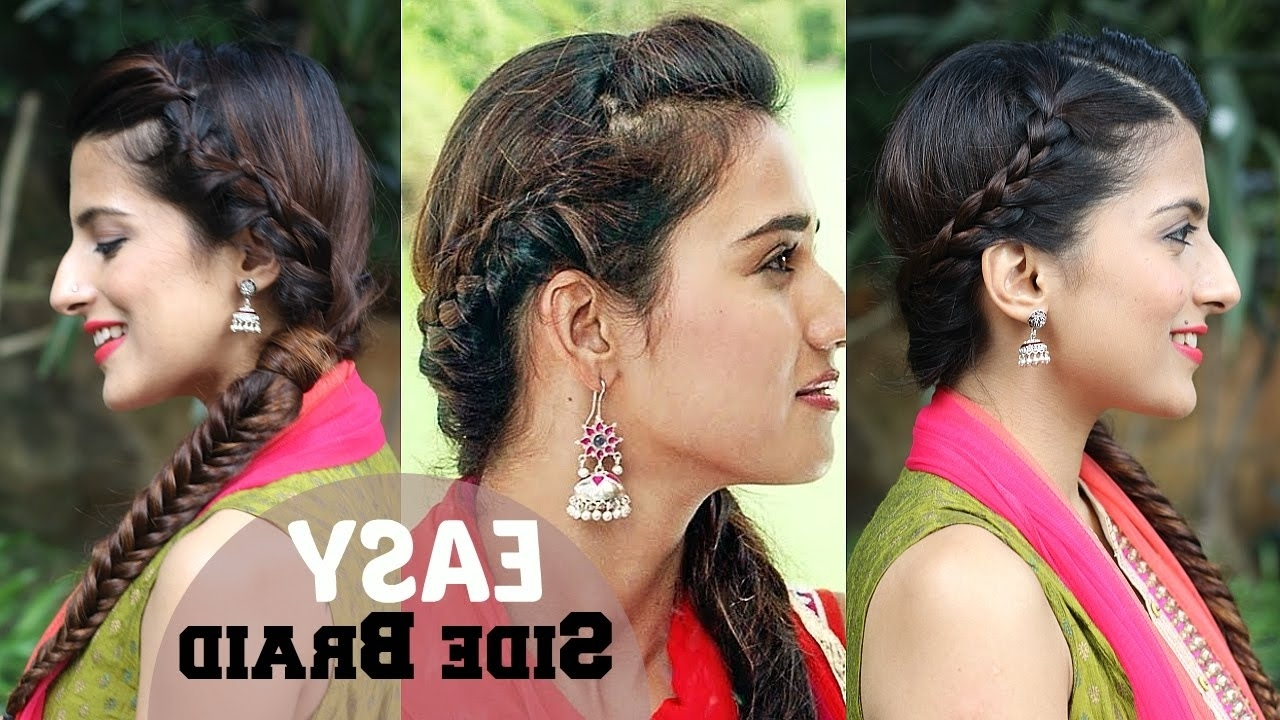 Well Known Braided Hairstyles On Saree Regarding 5 Minute Easy Side Braided Indian Hairstyle (View 13 of 15)