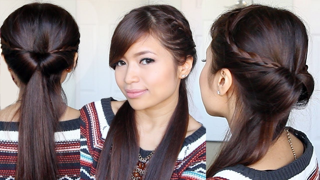 Well Known Japanese Braided Hairstyles Pertaining To Tucked In Lace Braid Half Up Half Down Hairstyle Hair Tutorial – Youtube (View 15 of 15)