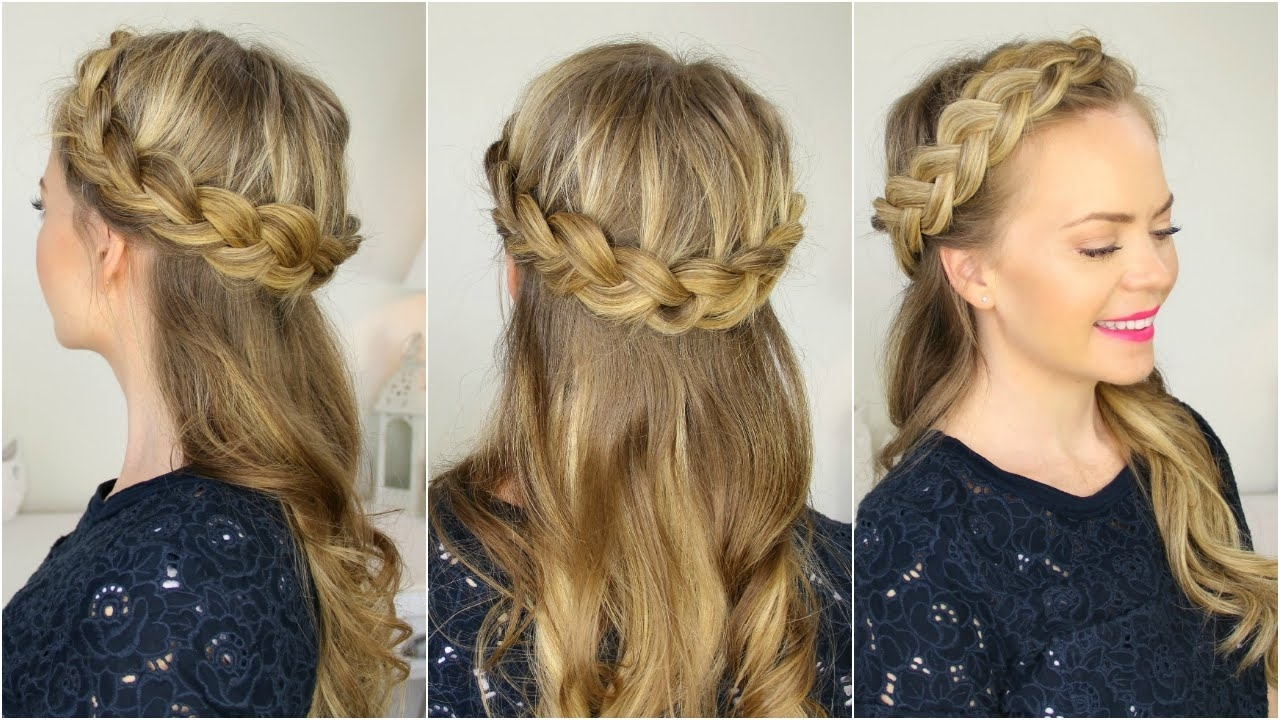 Well Known Up Braided Hairstyles Inside Half Up Crown Braid – Youtube (View 14 of 15)