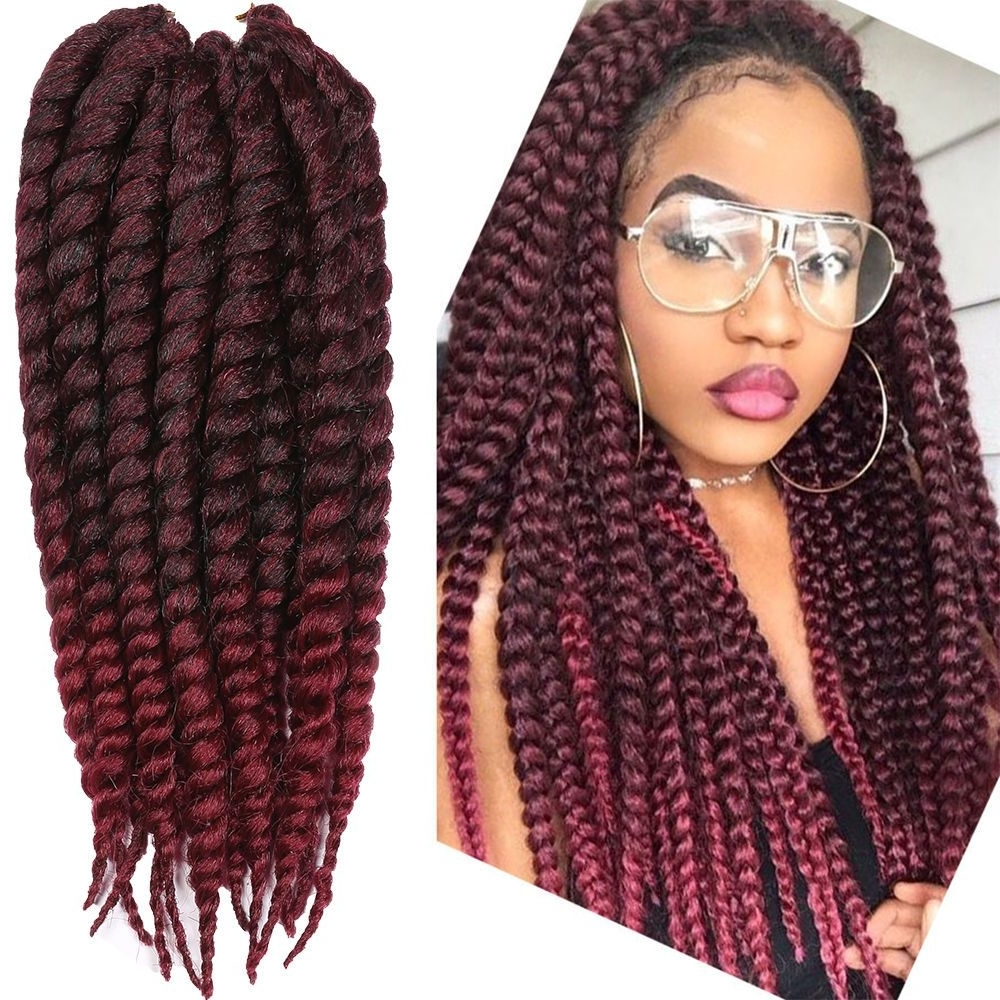 Well Liked Braided Hairstyles With Color With 36 Strands 14'' Ombre Burgundy Havana Mambo Twist Braiding Hair (View 14 of 15)