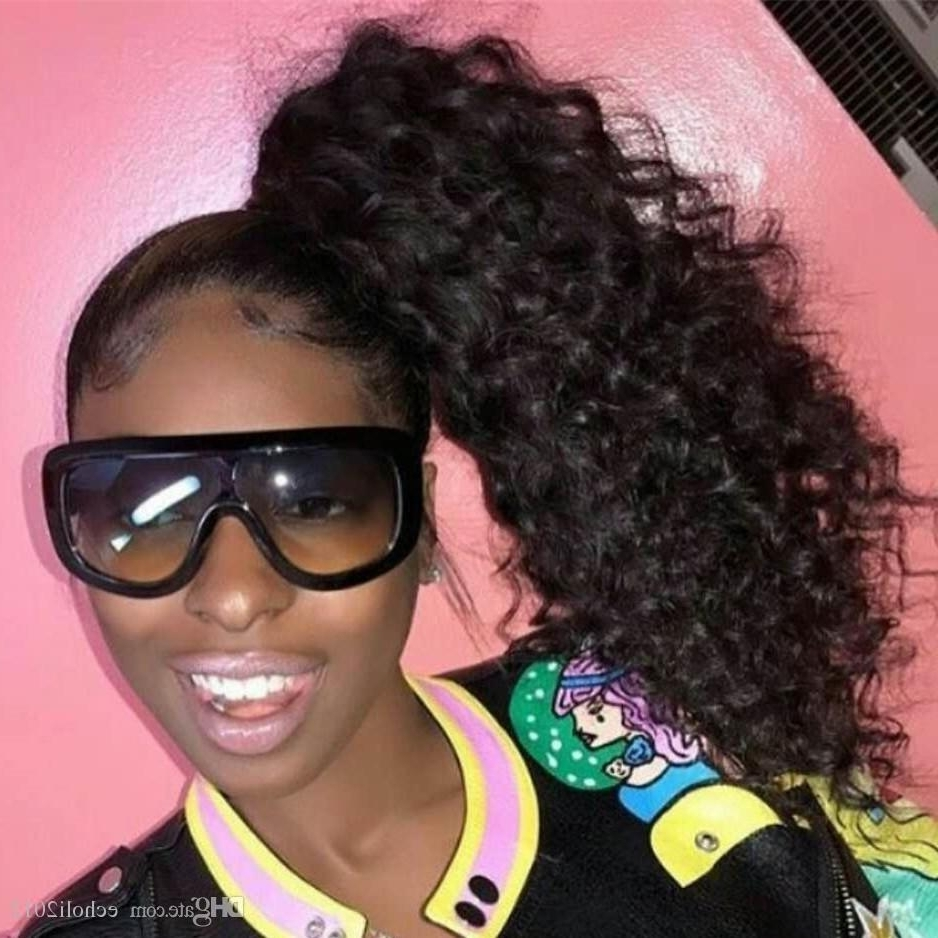 16 Clip In Ponytail Human Hair Extensions Kinky Curly Wrap Around In Well Liked Revamped Braided Ponytail (View 2 of 15)