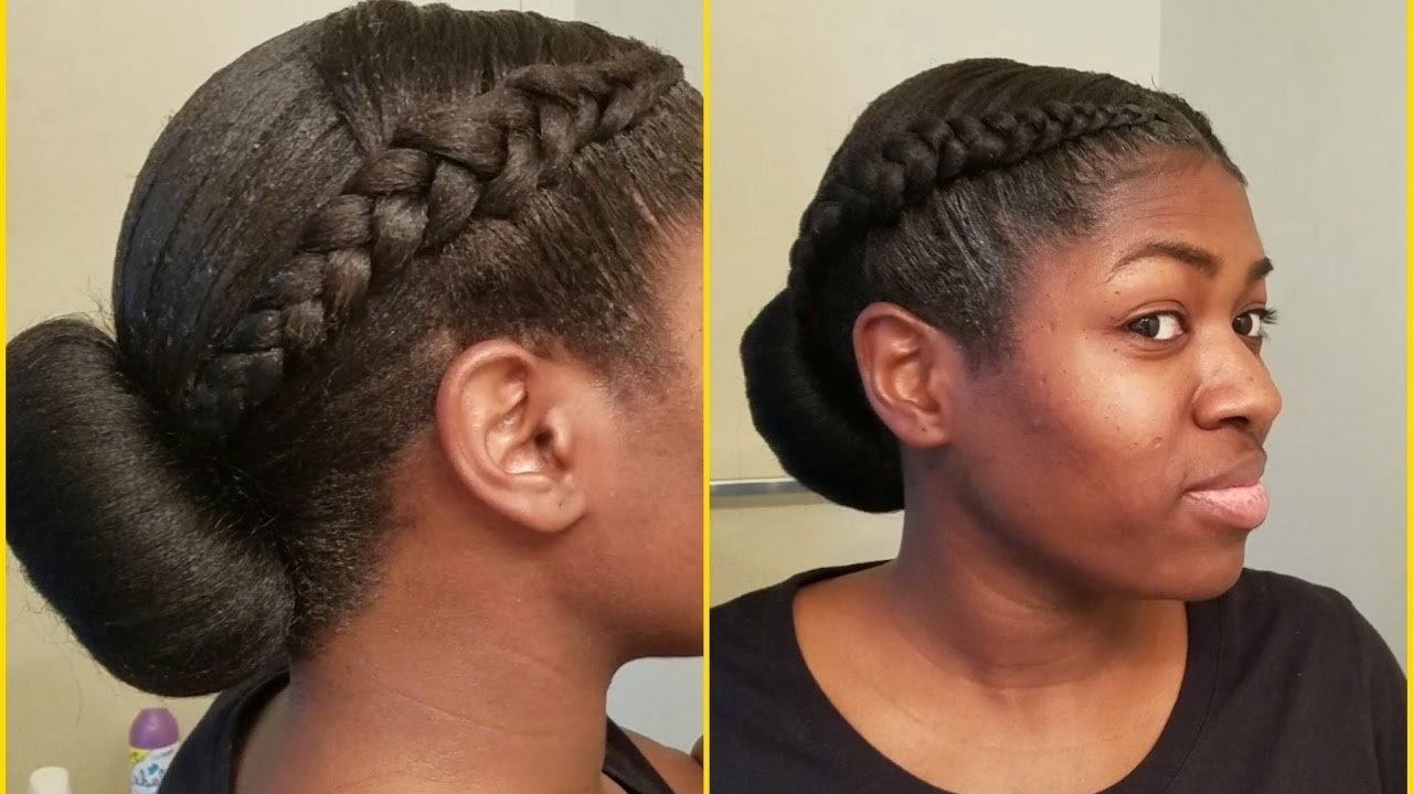 2 Cornrows With Low Bun (Protective Hairstyle) – Youtube Pertaining To 2017 Two Cornrows Hairstyles (View 3 of 15)