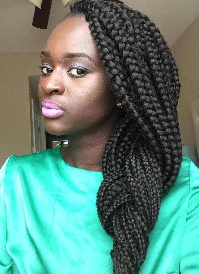 20 Eye Catching Ways To Style Dookie Braids Regarding Recent Thin Black Box Braids With Burgundy Highlights (View 2 of 15)