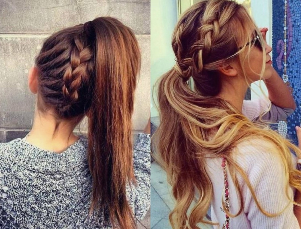 2017 Braided Ponytail Hairstyles Throughout Braid Hairstyles : Cute Braided Ponytail Hairstyles Images At Design (View 1 of 15)