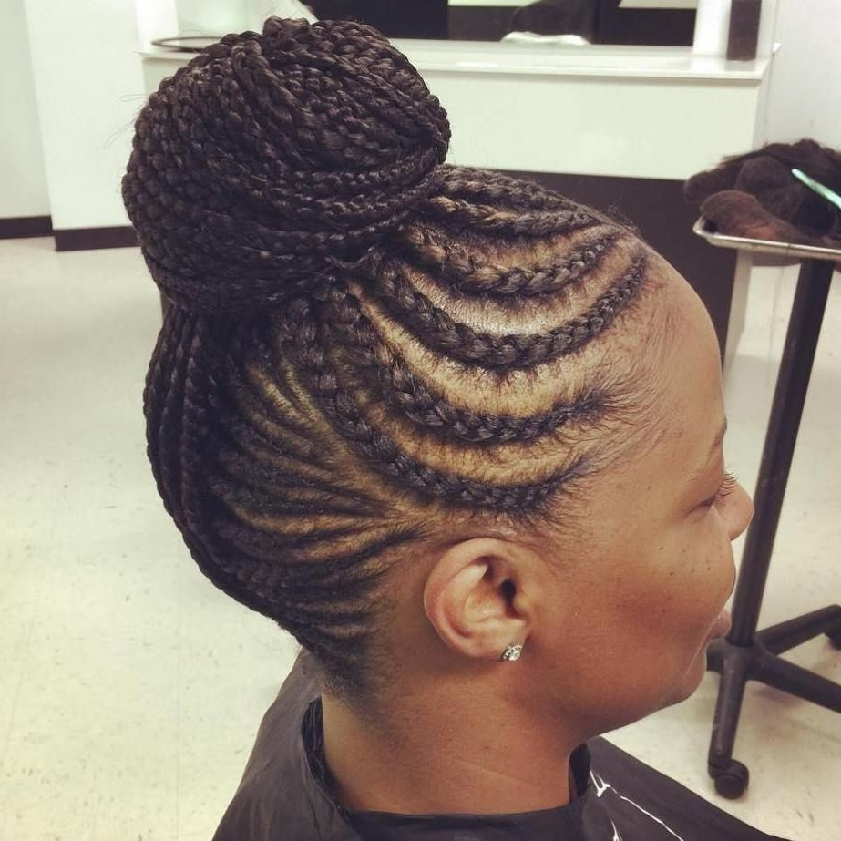 2017 Curvy Ghana Braids With Crown Bun Pertaining To Braided Bun With Curvy Cornrows (View 3 of 15)