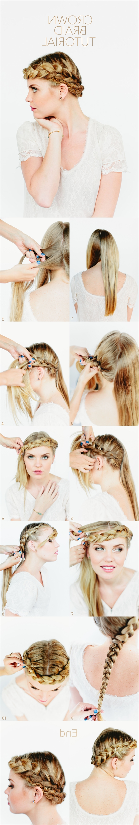 2017 French Braids Crown And Side Fishtail Throughout 6 Chic Braided Crown Hairstyles For Girls'daily Creation At Home (View 2 of 15)