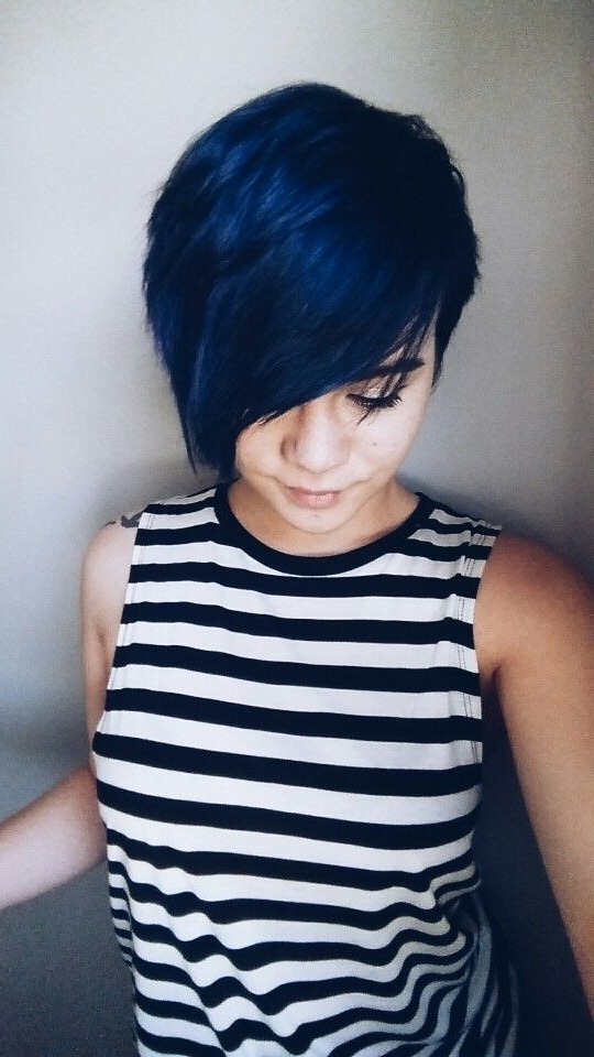 2017 Funky Blue Pixie With Layered Bangs In Blue Hair Pixie Cut (View 13 of 15)