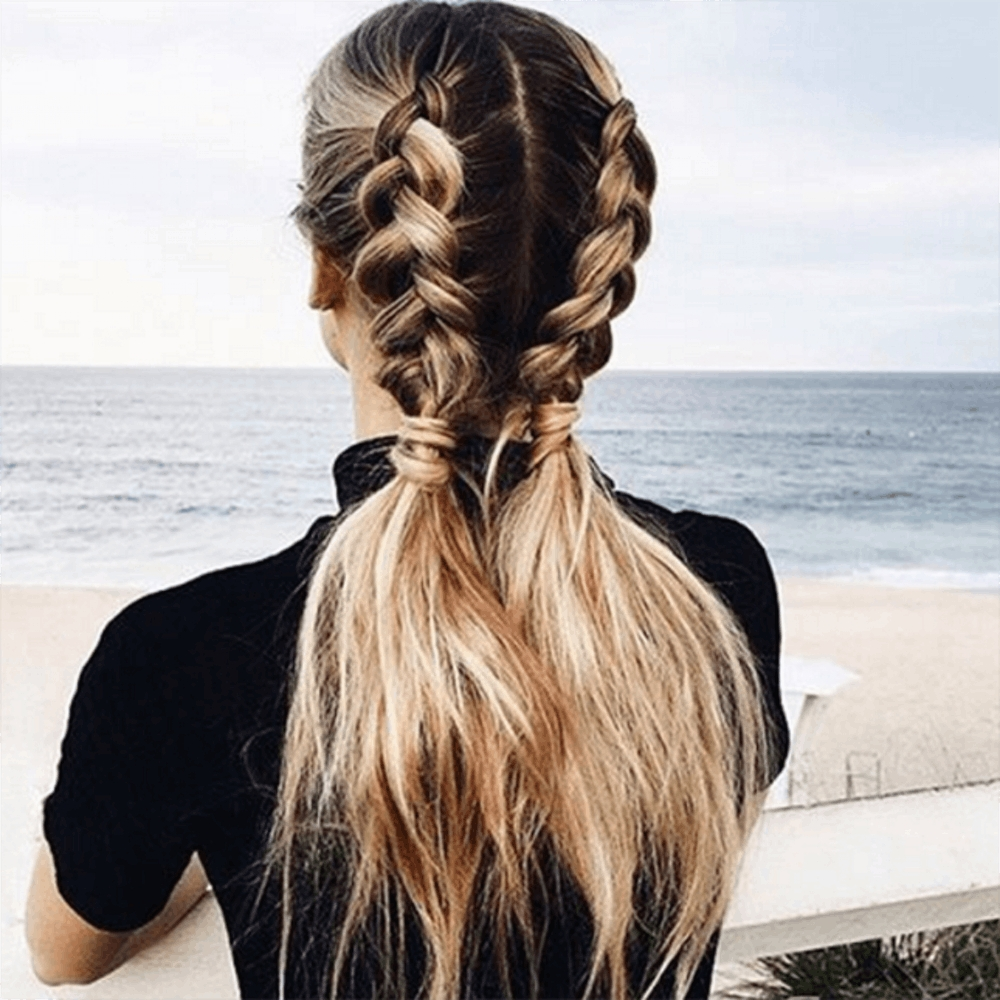 2017 Loose Hair With Double French Braids Within 11 Ways To Wear Braided Pigtails That Don't Look Childish (View 9 of 15)