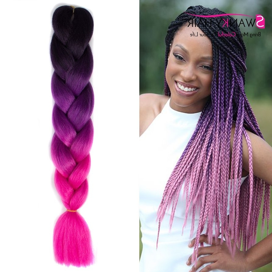 "2017 Multicolored Jumbo Braid Hairstyles With 24"" 100G Multi Colored Hair Extensions Synthetic Braiding Hair Three (View 1 of 15)"