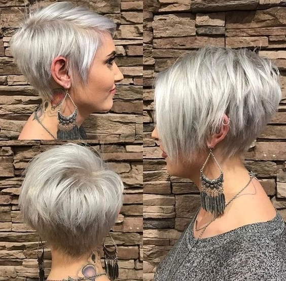 2017 Silver And Brown Pixie Haircuts Pertaining To 10 Trendy Pixie Hair Cut For Blondes & Brunettes, 2018 Women (View 1 of 15)