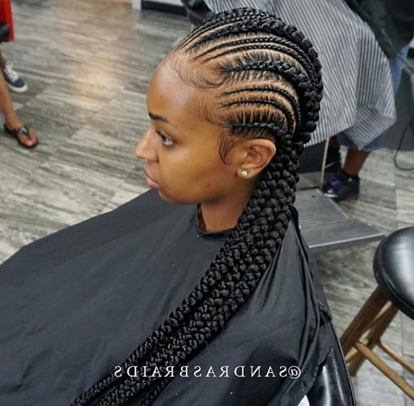 2017 Thick And Thin Asymmetrical Feed In Braids Throughout Small And Big Cornrows (View 2 of 15)