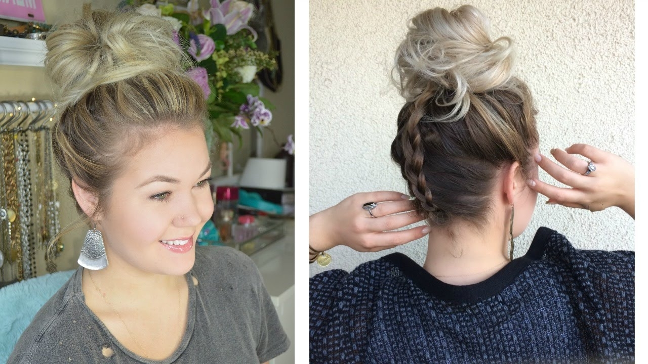 2017 Upside Down Braids Into Messy Bun Within Upside Down Dutch Braid With A Messy Bun – Youtube (View 1 of 15)