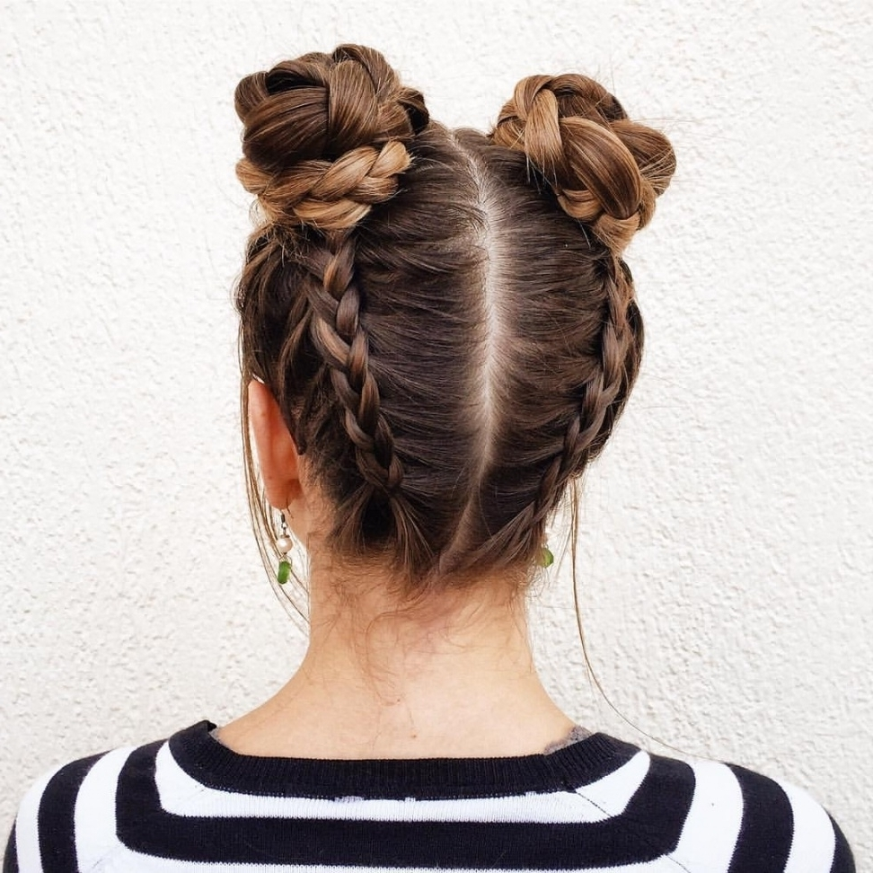 2017 Upside Down French Braids Into A Bun Pertaining To Upside Down Dutch Braids Into 2 Braided Buns (View 13 of 15)
