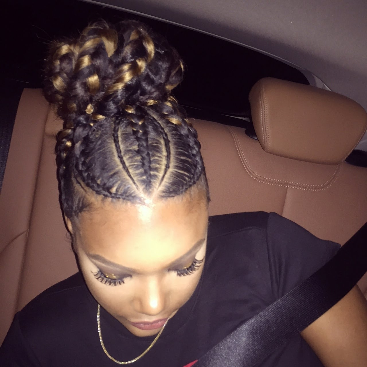 "2018 Big Updo Cornrows Hairstyles With Goddess Bun With Small And Big Braids""stylesjazae – Youtube (View 1 of 15)"