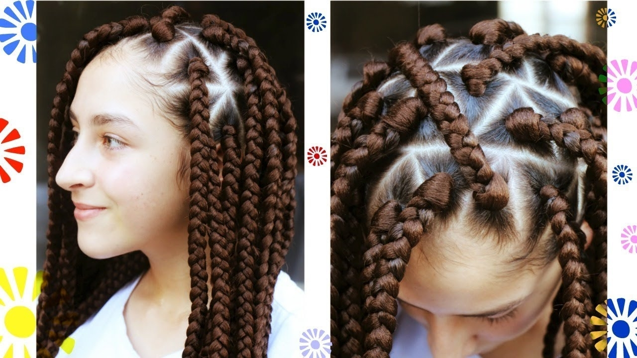 [%2018 Braided Hairstyle With Jumbo French Braid Intended For Triangle Box Braids Jumbo Size | Rubber Band Method [video] – Black|triangle Box Braids Jumbo Size | Rubber Band Method [video] – Black With Regard To Well Liked Braided Hairstyle With Jumbo French Braid%] (View 6 of 15)
