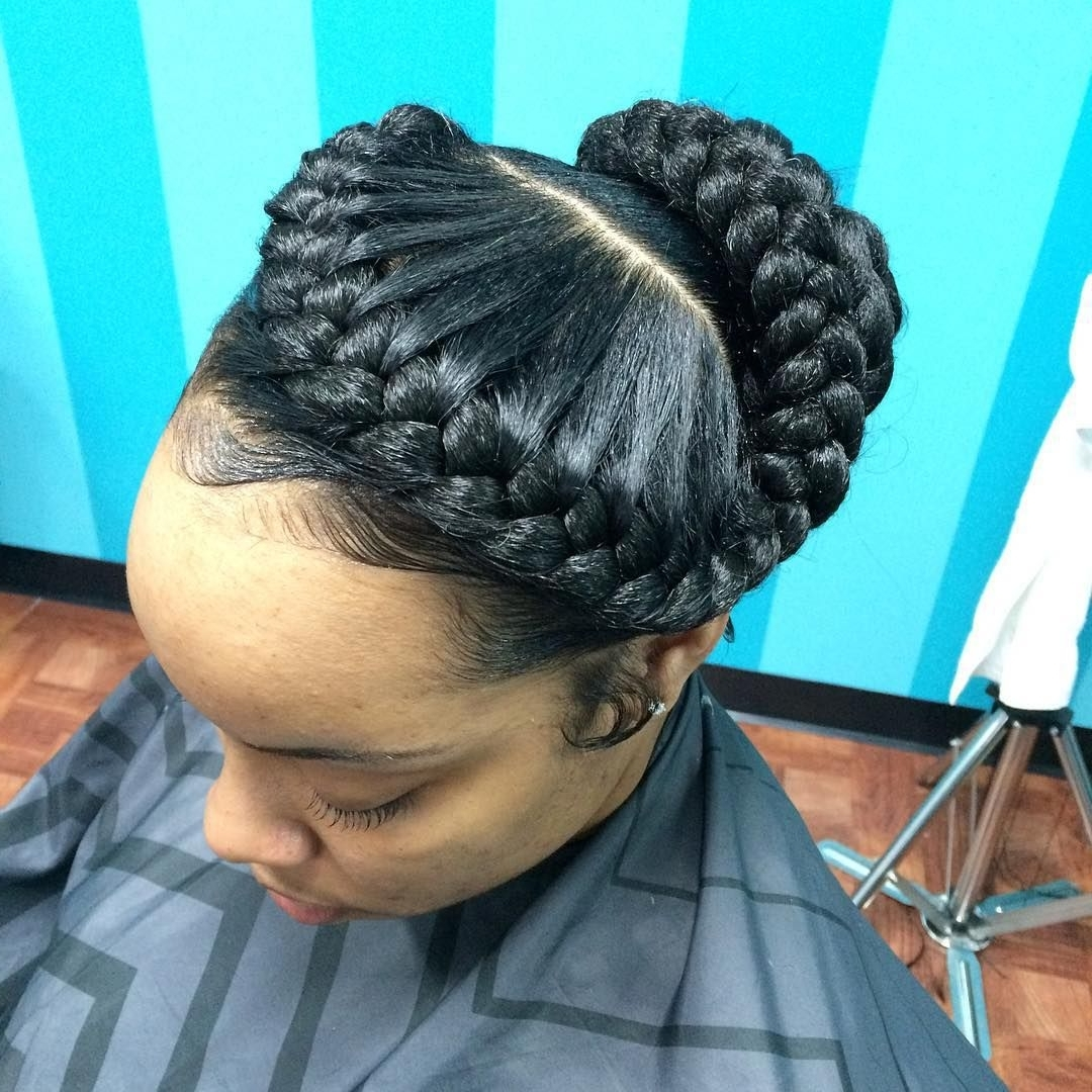 2018 Bulky Braided Crown Bun Pertaining To 22 Goddess Braids Hairstyles: Includes Photos & Video Tutorials (View 2 of 15)