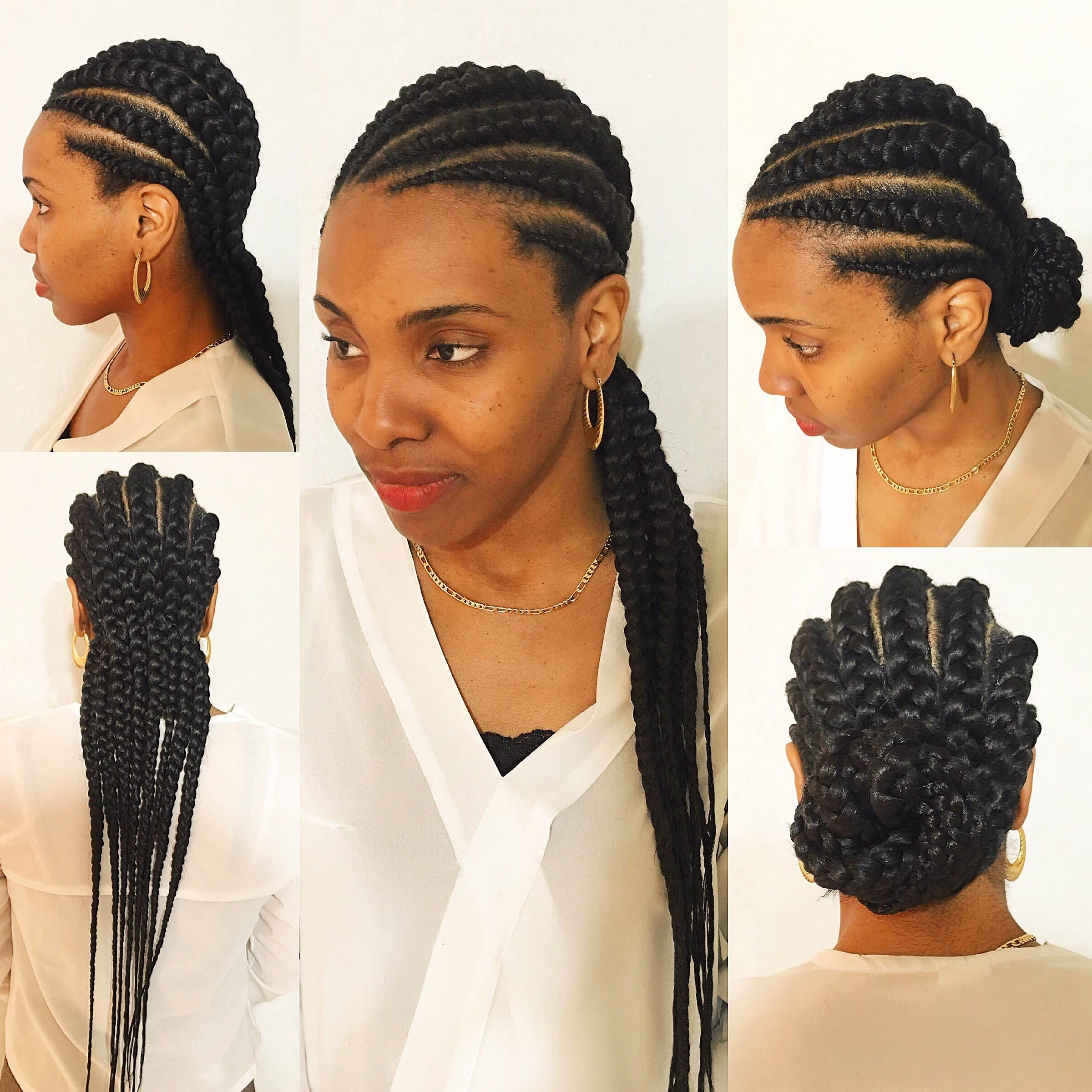 2018 Cornrows Hairstyles With Extensions Regarding Best Ideas Of Big Cornrow Braid Hairstyles Fantastic Big Cornrows (View 9 of 15)