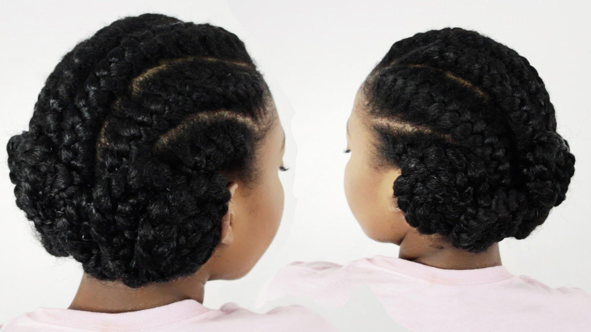 2018 Ghana Braids Bun Hairstyles Within Goddess Braids Pinwheel Bun: Under Braid Hairstyles For Black Women (View 2 of 15)