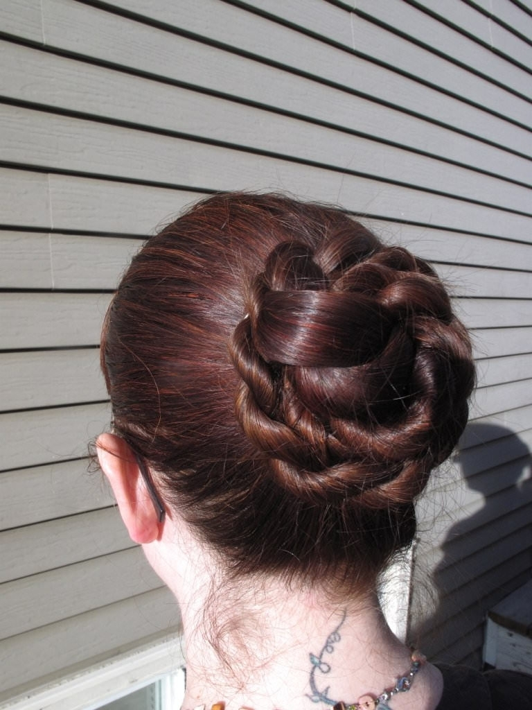 2018 Low Bun With A Braid With Regard To Most Recently Released Bulky Braided Crown Bun (View 3 of 15)