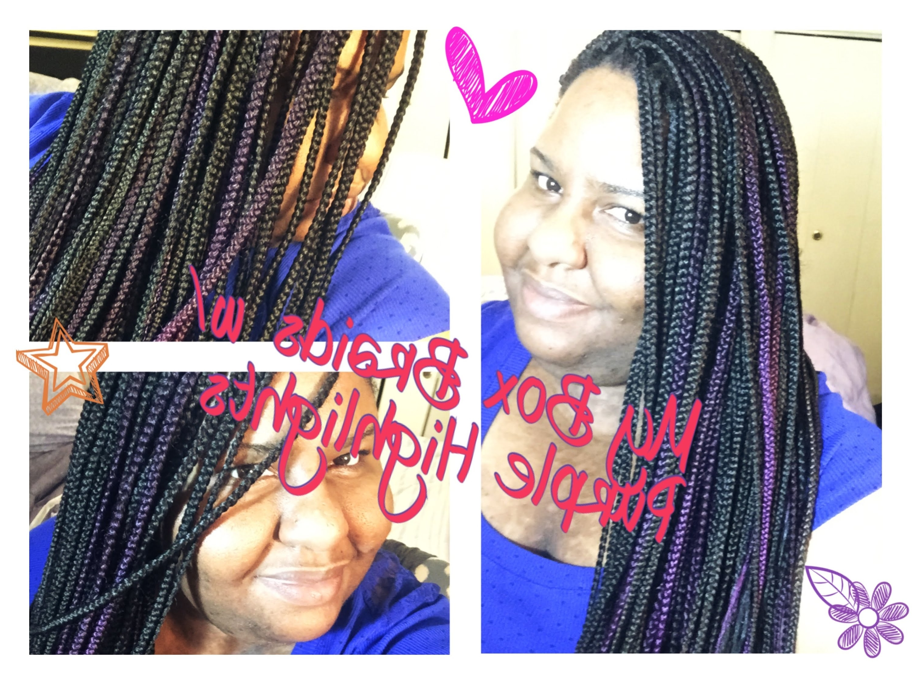2018 Purple Highlights In Black Braids With Regard To My Box Braids W/ Purple Highlights (View 2 of 15)