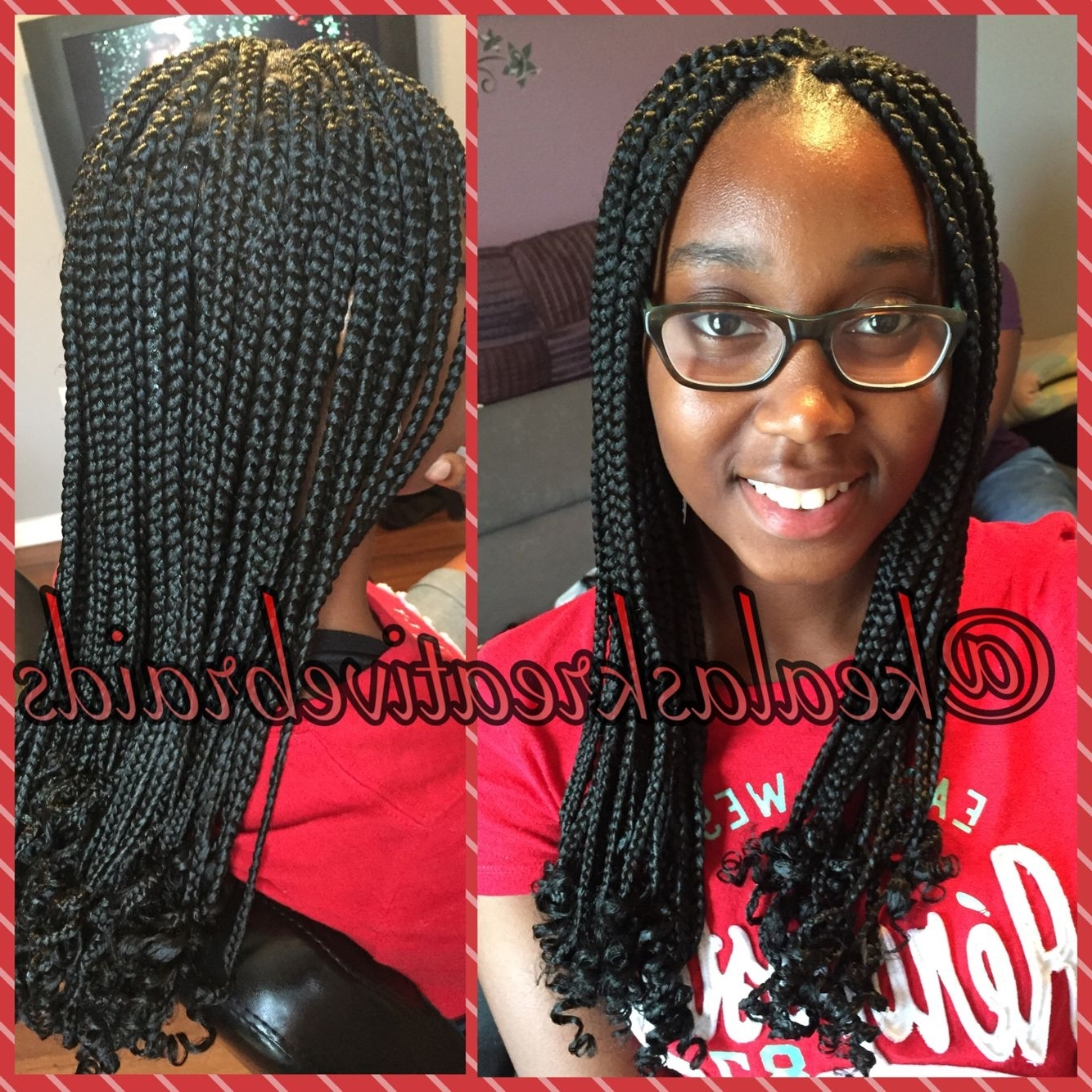 2018 Shoulder Length Loose Curls With Beaded Mini Fulani Braids Intended For Box Braids With Curly Ends (View 1 of 15)