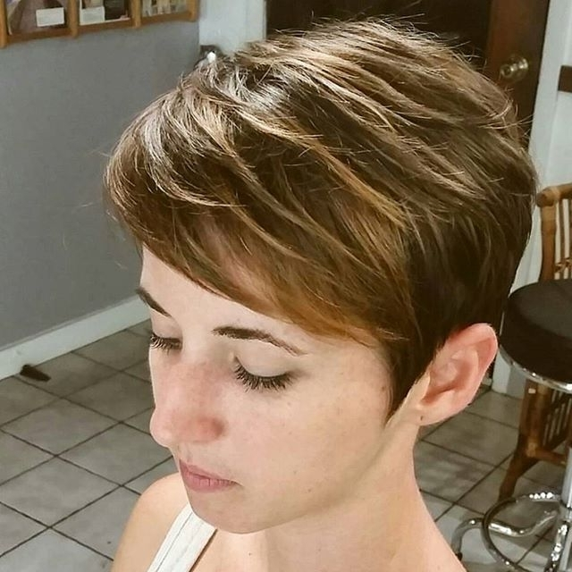 21 Flattering Pixie Haircuts For Round Faces – Pretty Designs Pertaining To Favorite Brunette Pixie With Feathered Layers (View 2 of 15)