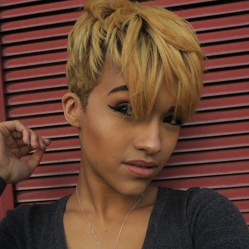 22 Best Colorful Ways To Enhance Your Pixie Haircut: 2017 Short Hair With Regard To Recent Long Honey Blonde And Black Pixie Haircuts (View 2 of 15)