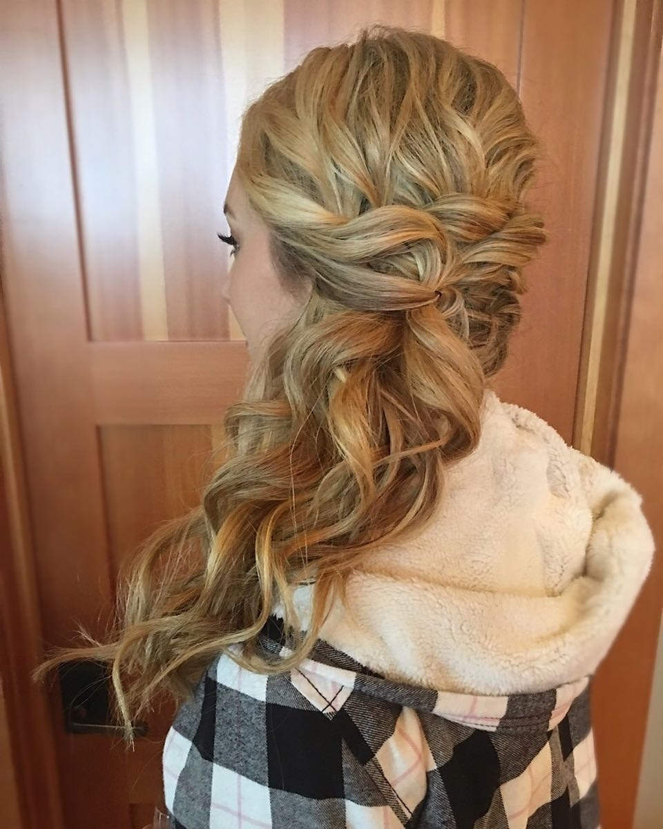 23 Hottest Side Swept Hairstyles To Try In 2018 With Preferred Messy Loosely Braided Side Downdo (View 14 of 15)