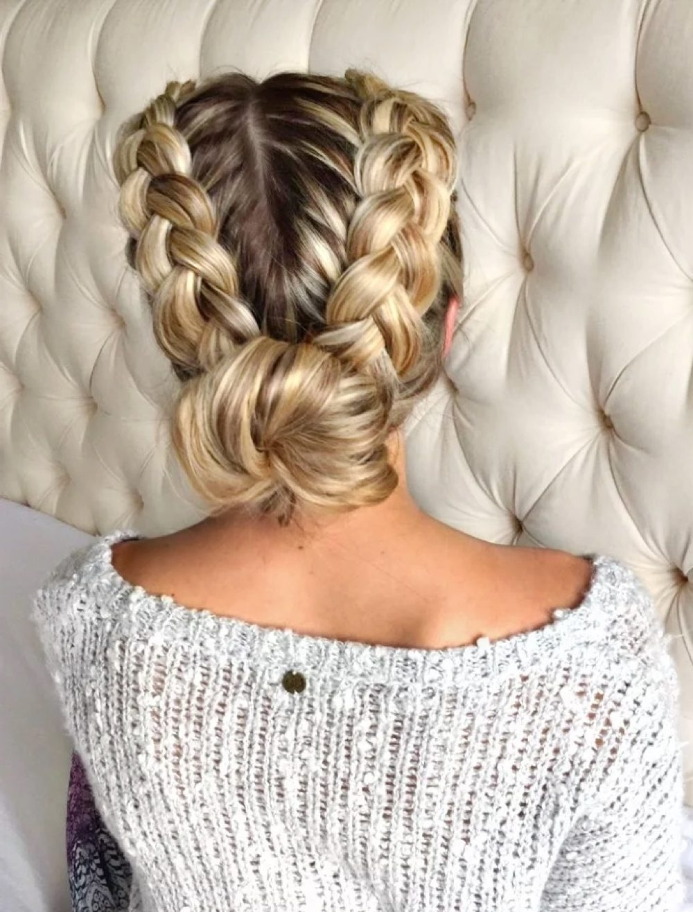 28 Gorgeous Braided Updo Ideas For 2018 Regarding Newest Braided Bun With Two French Braids (View 14 of 15)