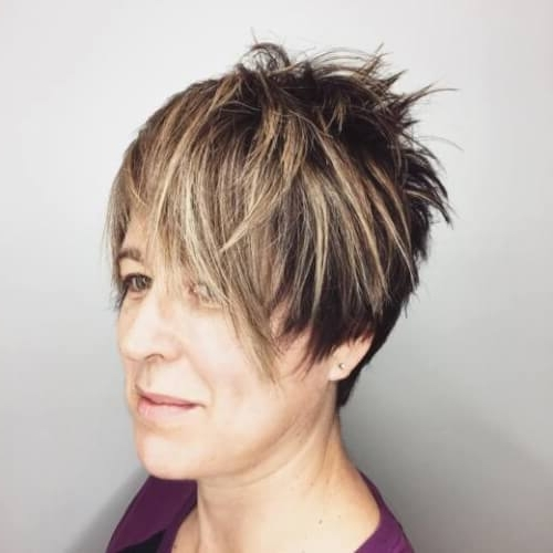 39 Classiest Short Hairstyles For Women Over 50 Of 2018 Within 2017 Brunette Pixie With Feathered Layers (View 4 of 15)