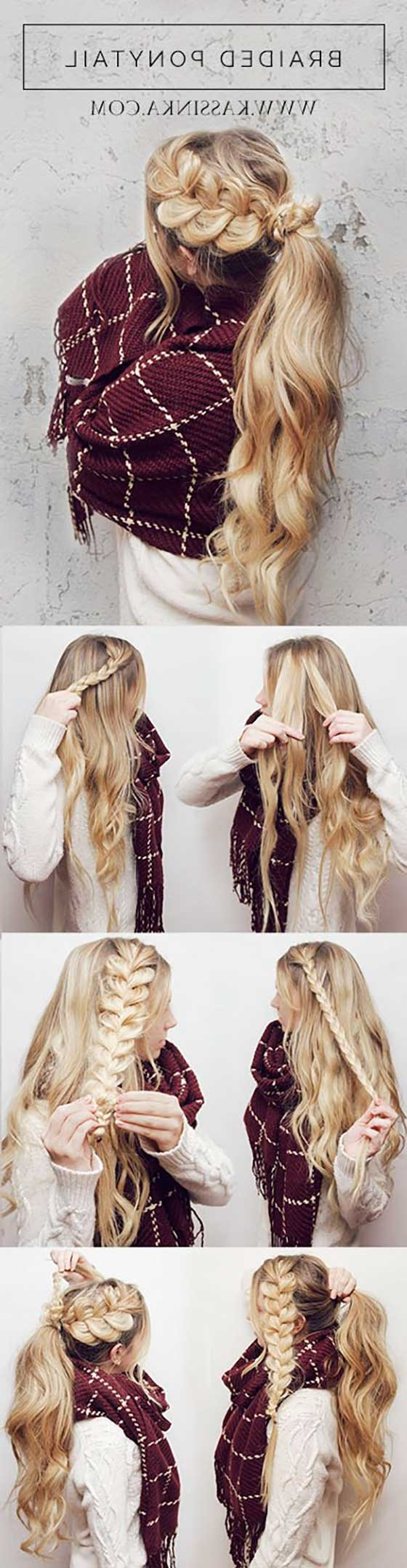 40 Braided Hairstyles For Long Hair Intended For Well Known Ponytail Braids With Quirky Hair Accessory (View 2 of 15)