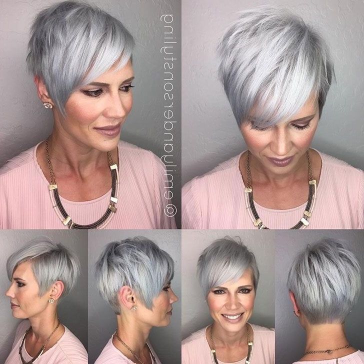 40 Chic And Classy Short Hairstyles For Women Over 50 Regarding Newest Side Parted Silver Pixie Bob Haircuts (View 2 of 15)