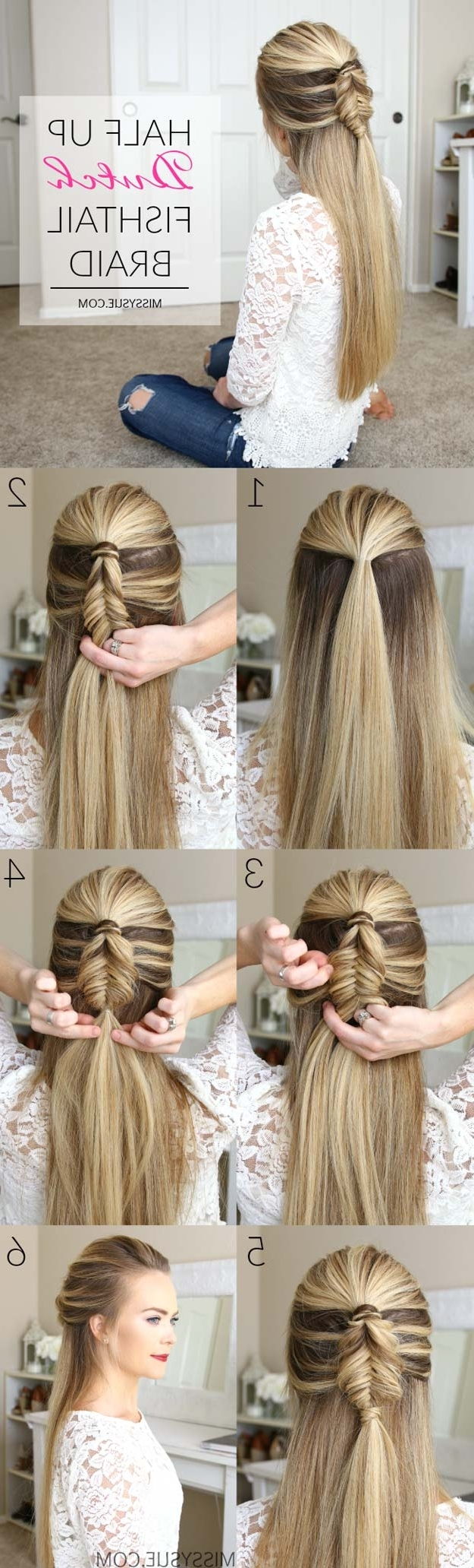 40 Of The Best Cute Hair Braiding Tutorials Inside 2017 French Braids Crown And Side Fishtail (View 4 of 15)