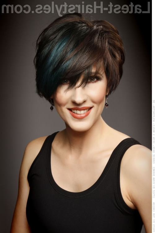 42 Sexiest Short Hairstyles For Women Over 40 In 2018 Inside Well Liked Funky Blue Pixie With Layered Bangs (View 2 of 15)