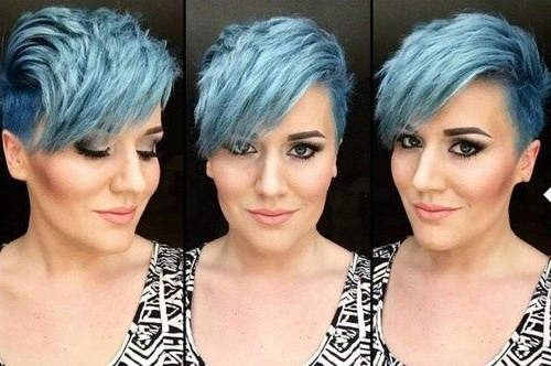 Featured Photo of Funky Blue Pixie With Layered Bangs