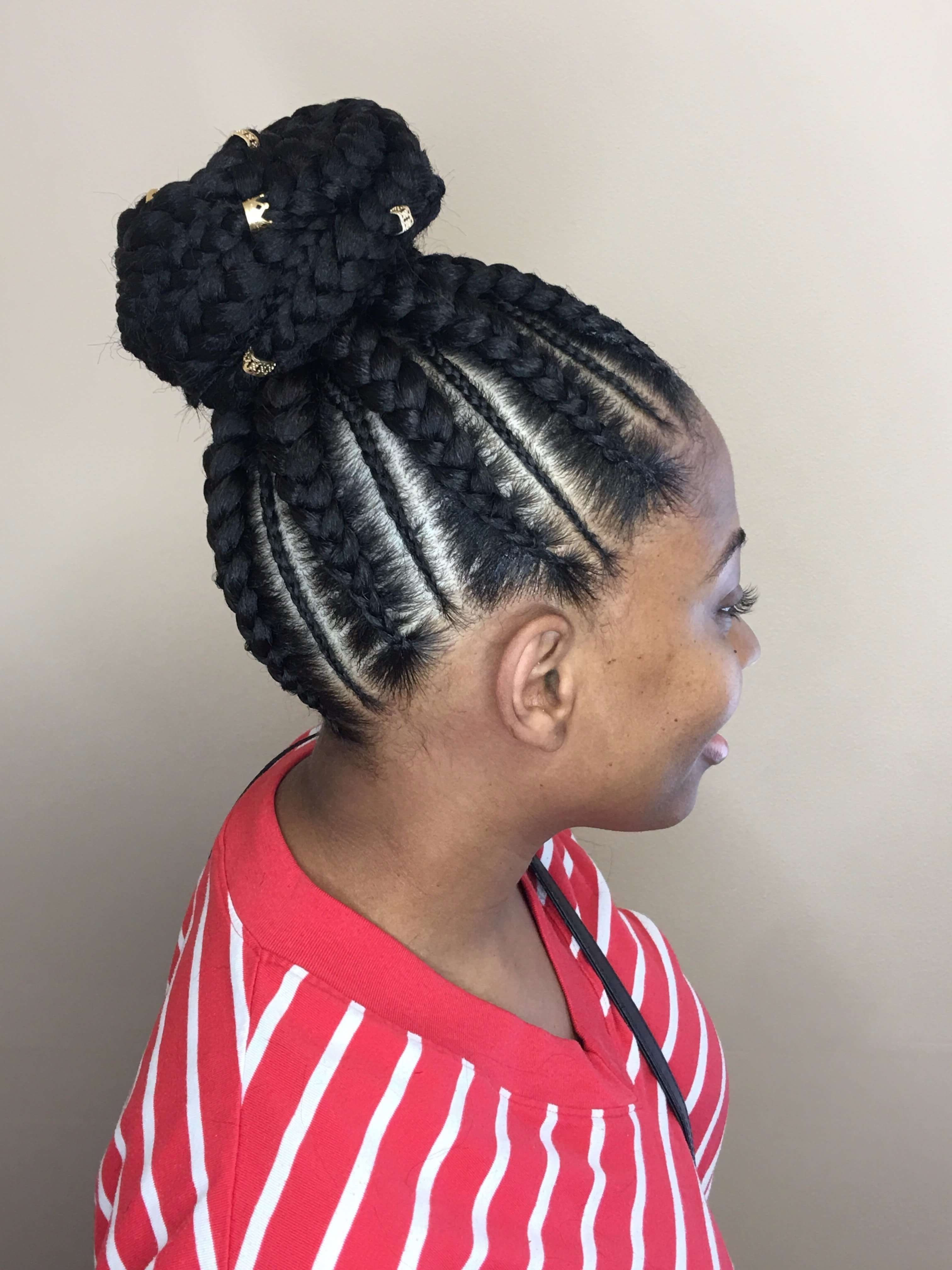 50 Natural Goddess Braids To Bless Ethnic Hair In 2018 Inside Fashionable Cornrow Updo Braid Hairstyles (Gallery 11 of 15)