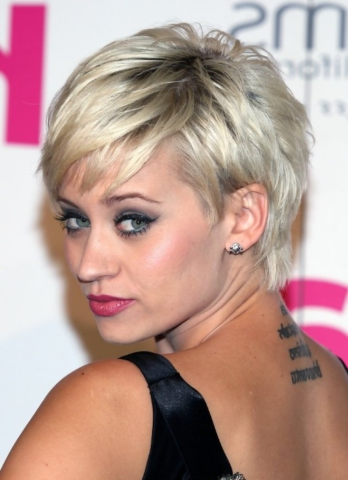 55 Super Hot Short Hairstyles 2017 – Layers, Cool Colors, Curls, Bangs Throughout Preferred Bleach Blonde Pixie Haircuts (View 5 of 15)