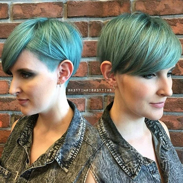 60 Cool Short Hairstyles & New Short Hair Trends! Women Haircuts 2017 For Favorite Funky Blue Pixie With Layered Bangs (View 8 of 15)