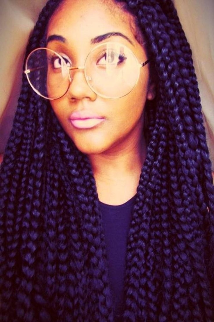 65 Box Braids Hairstyles For Black Women For Fashionable Purple Highlights In Black Braids (View 15 of 15)