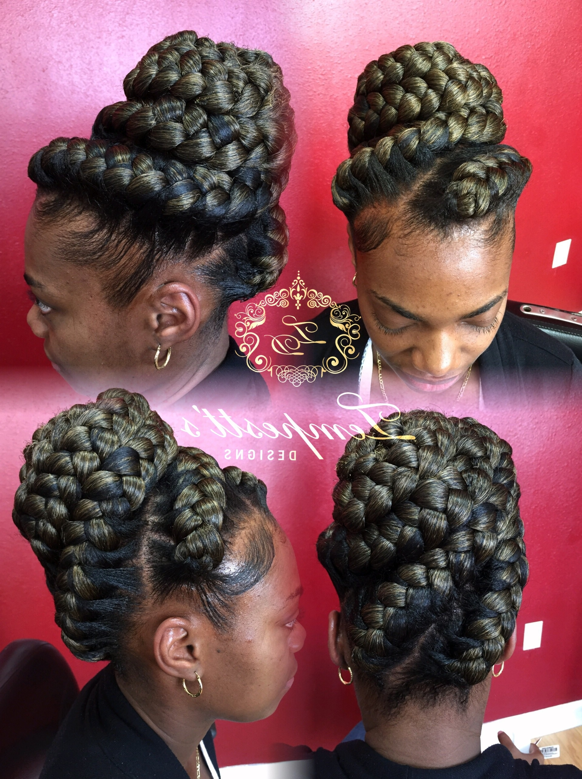 Awesome Collection Of Goddess Braids Updo Hairstyles Beautiful With Well Liked Ghana Braids Bun Hairstyles (View 4 of 15)