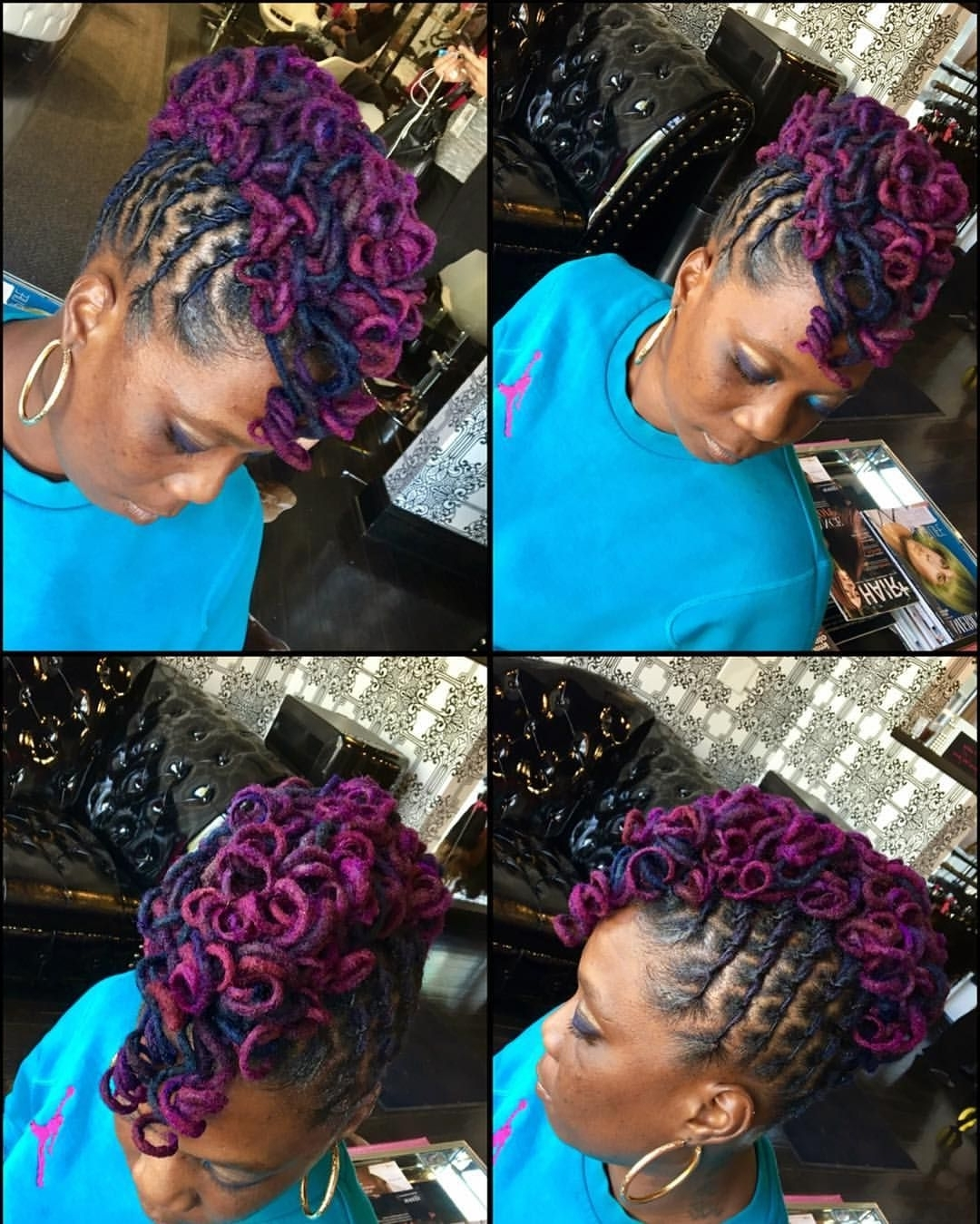 Back To Business! #locs #color #mohawk #updos #styledlocs In Preferred Twisted Black And Magenta Mohawk (View 4 of 15)