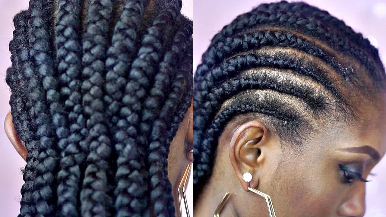 Best And Newest African Cornrows Hairstyles Within Tutorial :how To Braid Big Cornrows On Short Natural Hair – Youtube (View 3 of 15)