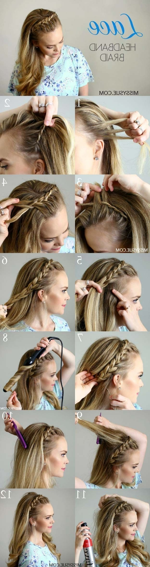 Best And Newest Two French Braid Hairstyles With Flower Regarding Best Hair Braiding Tutorials – Lace Headband Braid – Easy Step (View 7 of 15)