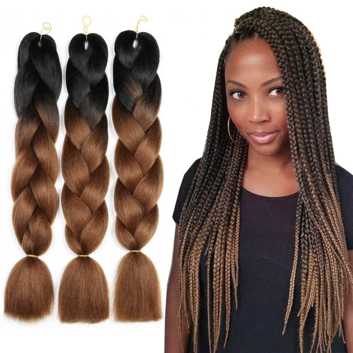 Best And Newest Two Tone Braided Pony Hairstyles Within Weave Master Ombre Synthetic Braiding Hair Kanekalon 24 Inch Two (View 2 of 15)