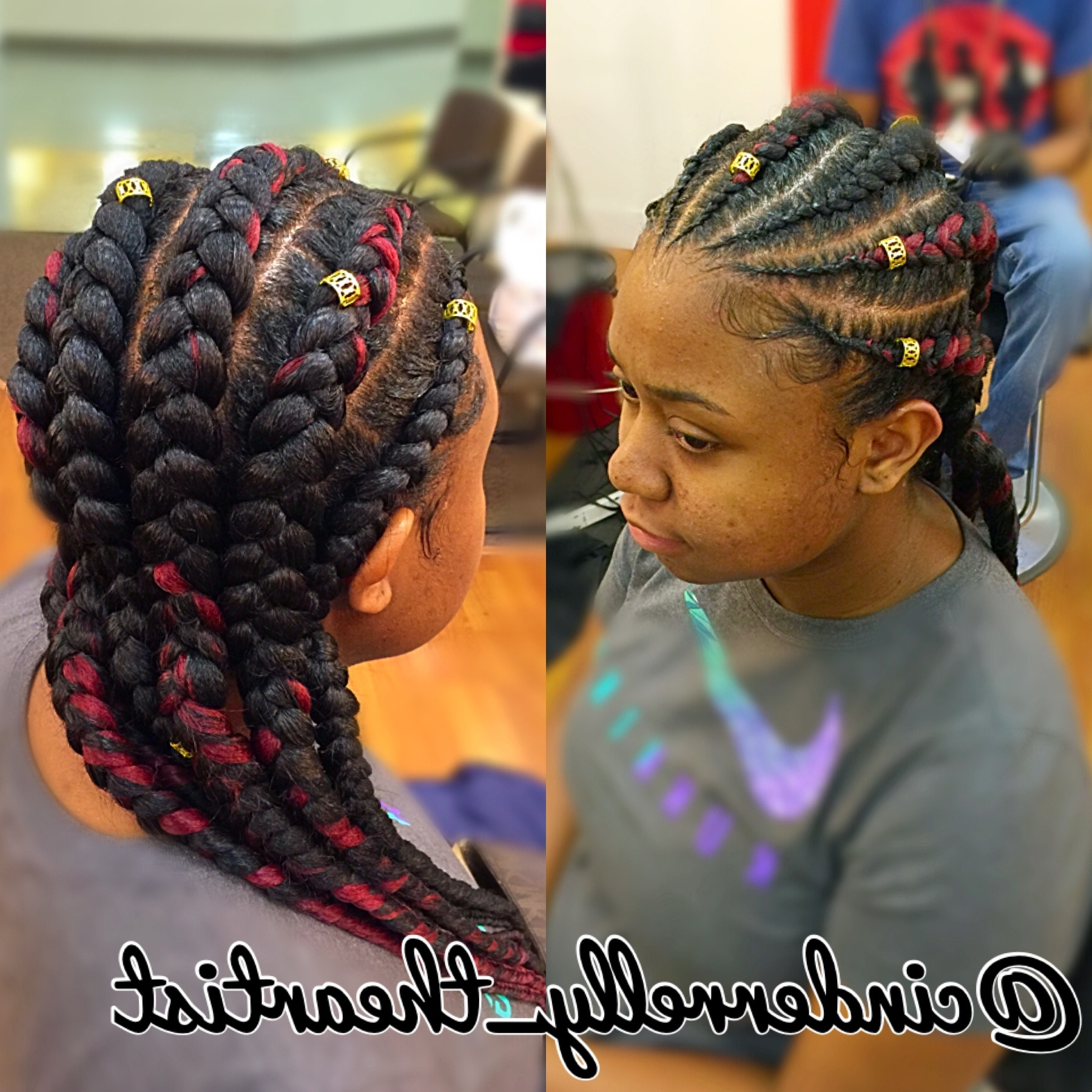 Best Solutions Of Big Cornrow Braid Hairstyles Magnificent Feed In Regarding Latest Feed In Braids Hairstyles (View 2 of 15)
